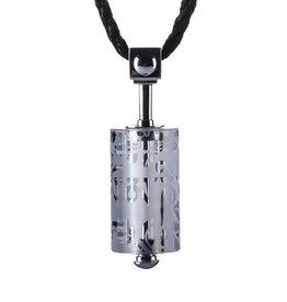 LIULI Crystal Art Crystal Prayer Wheel Pendant Necklace in Powder White