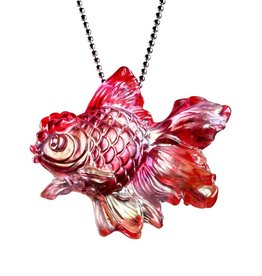 LIULI Crystal Art Crystal Goldfish Pendant Necklace