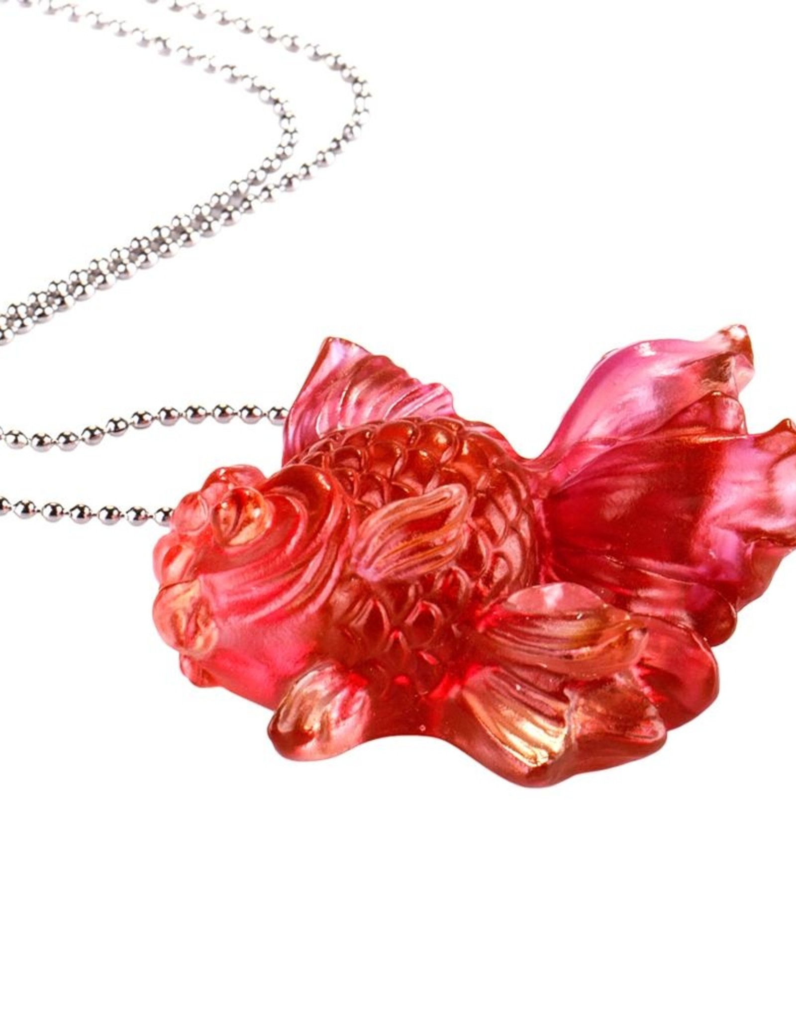 "LIULI Crystal Art Crystal Goldfish Pendant Necklace ""Upon the Heart"""