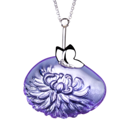 LIULI Crystal Art Crystal Dahlia Pendant Necklace in Violet