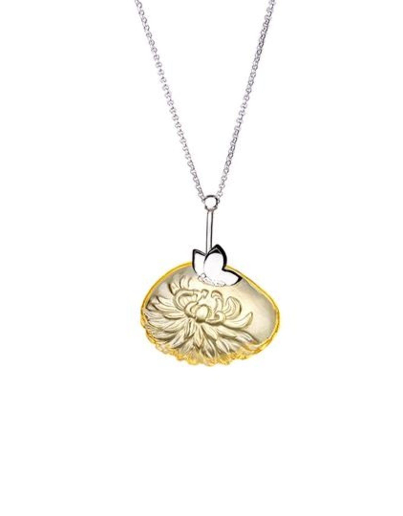 """LIULI Crystal Art Crystal and Sterling Silver """"The Sun Within"""" Dahlia Pendant Necklace in Amber"""