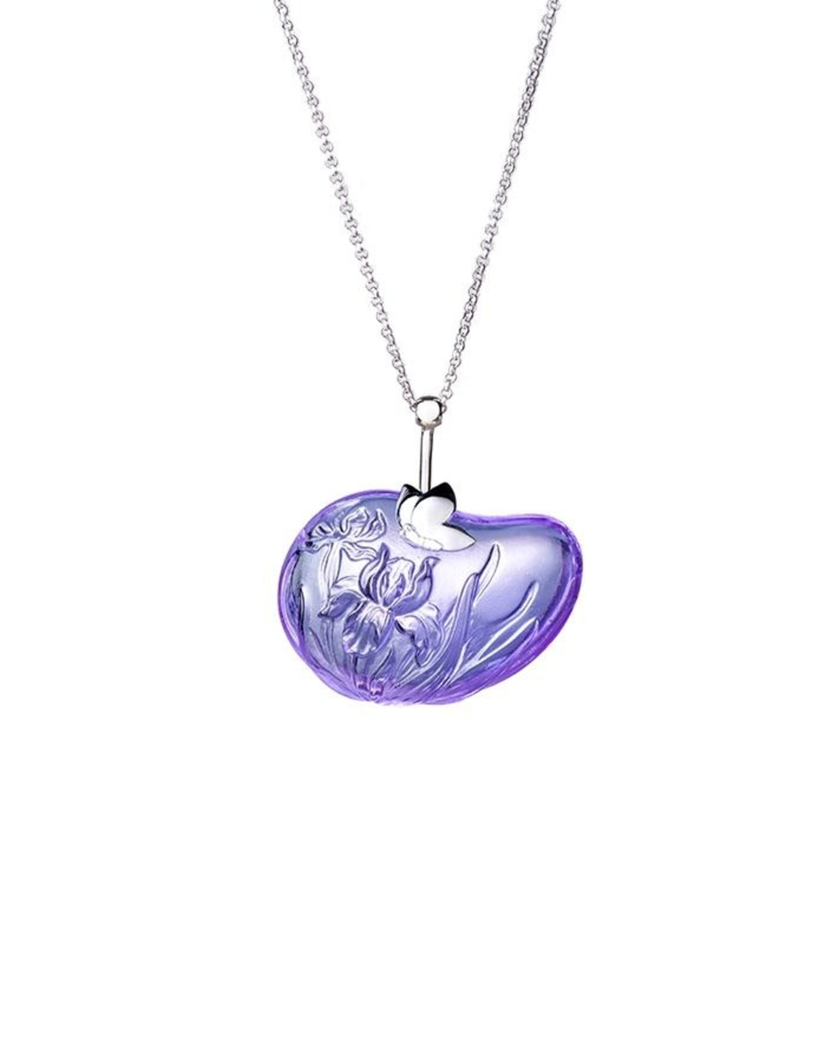 "LIULI Crystal Art Crystal and Sterling Silver "" Messenger of Freedom"" Iris Pendant Necklace in Violet"