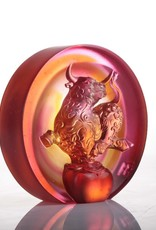 "LIULI Crystal Art Crystal ""The Joyful Spirit of the Ox"" Paperweight in Amber and Golden Red"