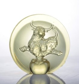 LIULI Crystal Art Crystal Joyful Ox Paperweight in Gold