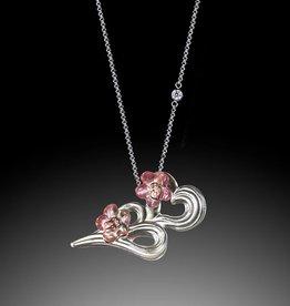 "LIULI Crystal Art Crystal ""An Orchid's Heart"" Double Heart Necklace"