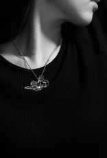 """LIULI Crystal Art Crystal Orchid Double Heart Necklace, """"An Orchid's Heart"""""""
