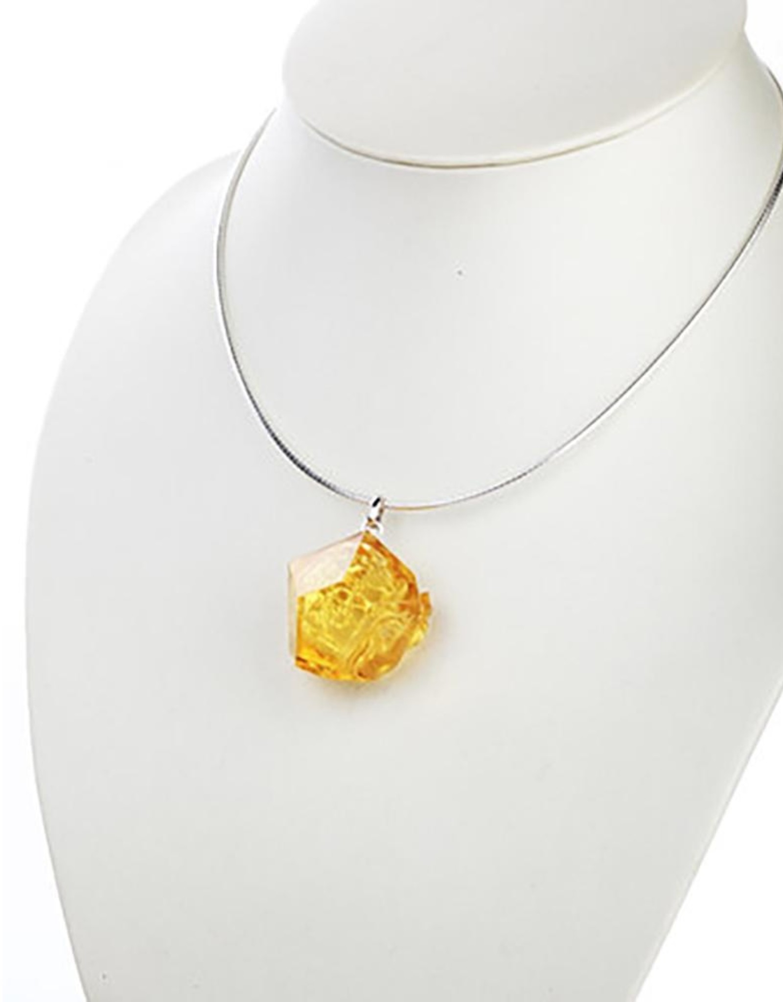 "LIULI Crystal Art Crystal and Sterling Silver ""A Sky in Bloom"" Flower Pendant Necklace in Light Amber"