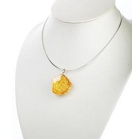 "LIULI Crystal Art Crystal ""A Sky in Bloom"" Flower Pendant Necklace in Light Amber"