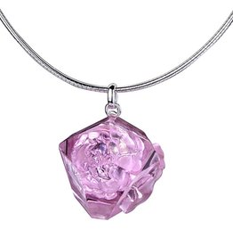 "LIULI Crystal Art Crystal ""A Sky in Bloom"" Flower Pendant Necklace in Purple"