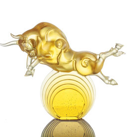 "LIULI Crystal Art Crystal Art Bull Statue in Gold ""Rise Above"" Limited Edition"