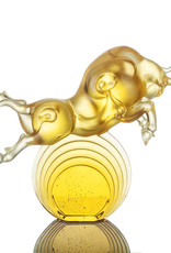 """LIULI Crystal Art Crystal Art Bull Statue in Gold """"Rise Above"""" Limited Edition"""