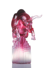 "LIULI Crystal Art Crystal Art Bull Statue in Gold Red/Purple ""Rise Above"" Limited Edition"