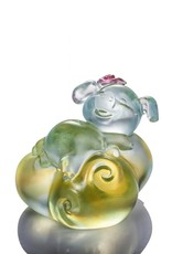 "LIULI Crystal Art Crystal ""Fortune and Fulfillment"" Piglet in Sky Blue & Clear Amber (Limited Edition)"