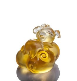 LIULI Crystal Art Crystal Piglet of Fortune and Fulfillment in Light Amber