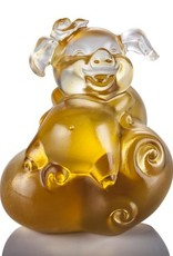 "LIULI Crystal Art Crystal ""Fortune and Fulfillment"" Piglet in Light Amber (Limited Edition)"