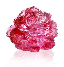 LIULI Crystal Art Crystal Peony Flower in Golden Red