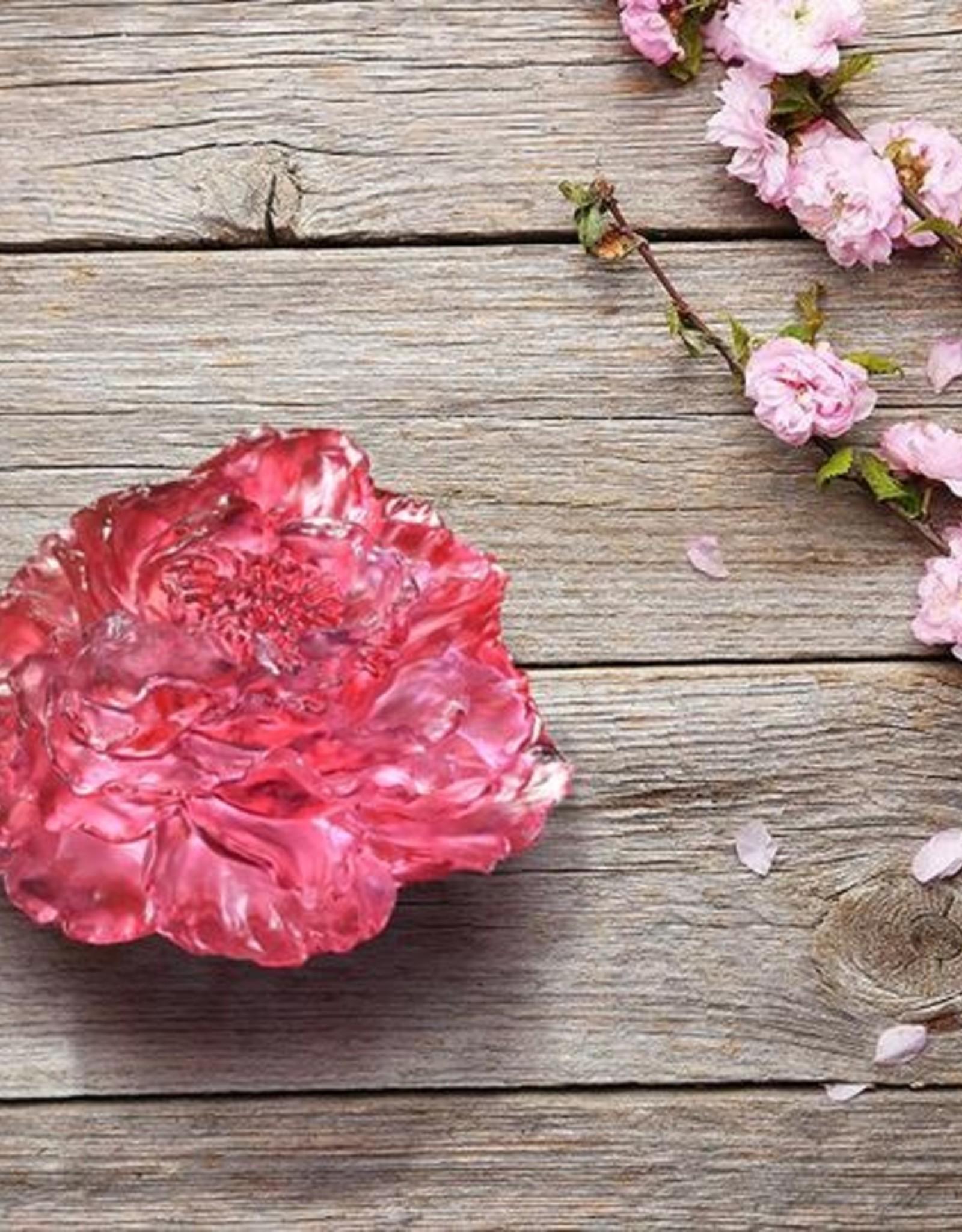 "LIULI Crystal Art Crystal ""Prosperous Heart, Prosperous World"" Peony Flower in Golden Red"