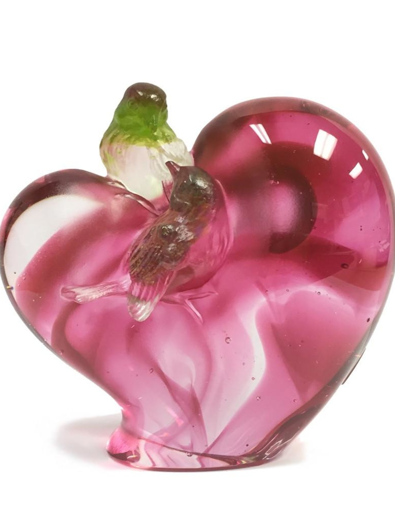 """LIULI Crystal Art Crystal """"Amorous Words"""" Birds on Heart Shape Figurine in Golden Red  (Limited Edition)"""