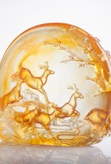"""LIULI Crystal Art Crystal Deer Statue """"Song of Triumph"""" in Amber (Limited Edition)"""