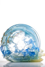 "LIULI Crystal Art Crystal Deer Statue ""Song of Triumph"" in Blue"