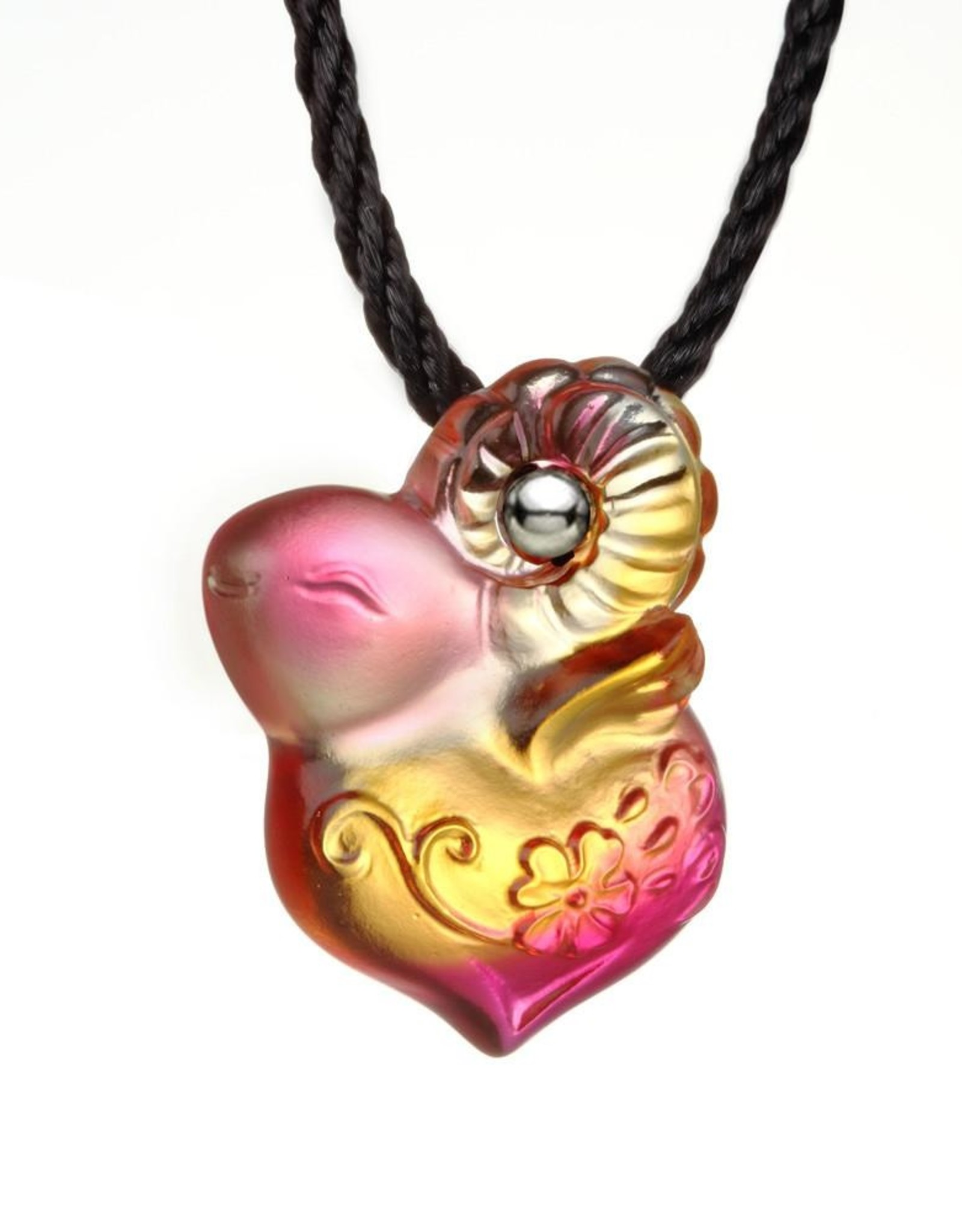"""LIULI Crystal Art Crystal """"As I Wish"""" Pendant Necklace in Amber & Golden Red (Limited Edition)"""