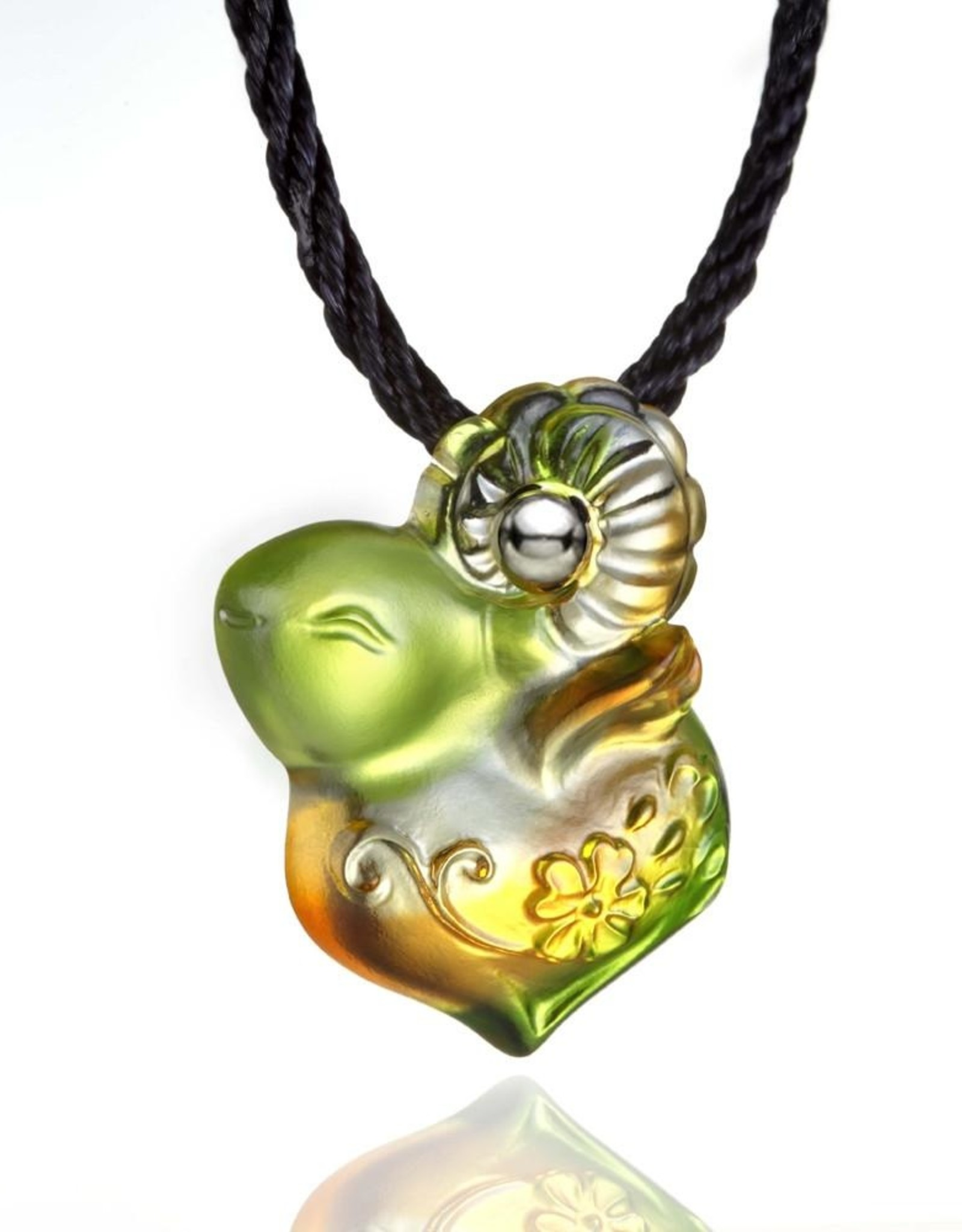 "LIULI Crystal Art Crystal ""As I Wish"" Pendant Necklace in Amber & Green (Limited Edition)"