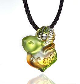 "LIULI Crystal Art Crystal ""As I Wish"" Pendant Necklace in Amber & Green"