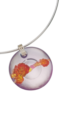 "LIULI Crystal Art Crystal ""The Flowers are Beautiful and the Moon is Full"" Ruyi Pendant Necklace in Amber"