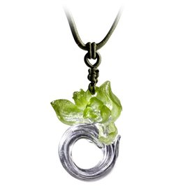 "LIULI Crystal Art Crystal ""Imminent Spring Dance"" Orchid Pendant Necklace"