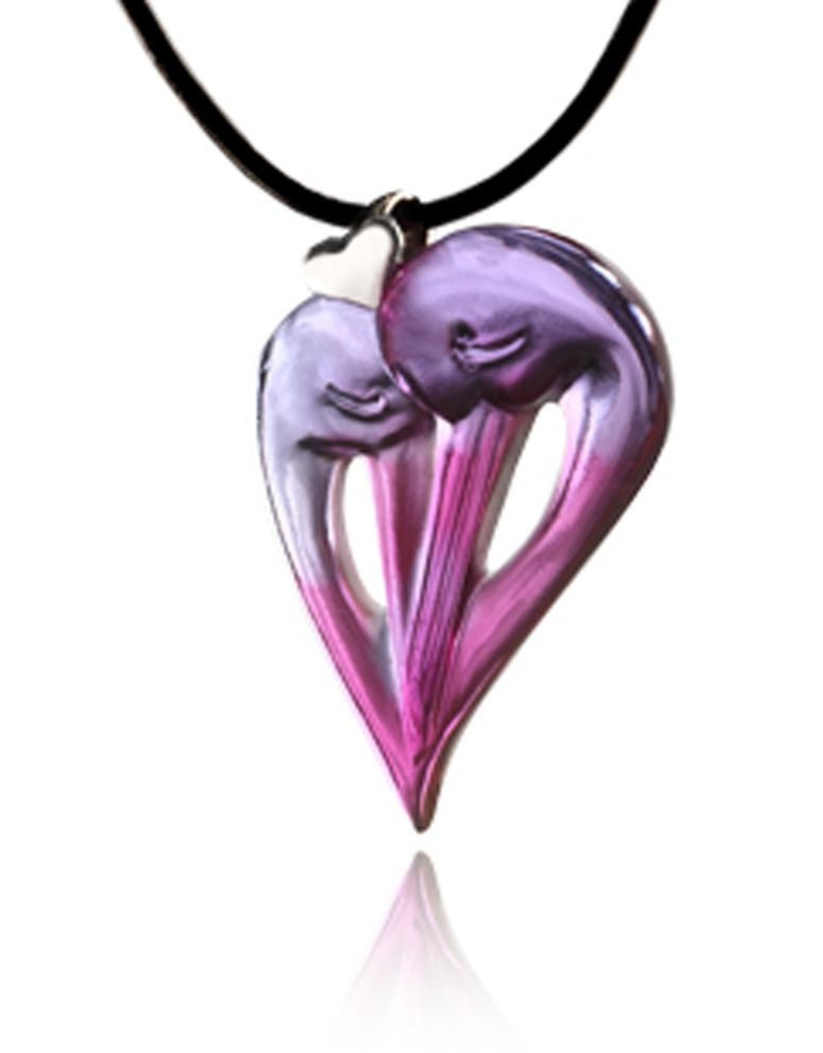 "LIULI Crystal Art Crystal ""I Do, As Do You"" Pendant Necklace, A Symbol of Everlasting Love, in Violet & Red"