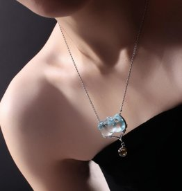 "LIULI Crystal Art Crystal ""Stuck on You"" Owl Necklace in Clear Sky Blue"