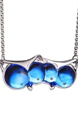 "LIULI Crystal Art Crystal and Sterling Silver ""Eyes Only for You"" Owl Necklace in Blue"
