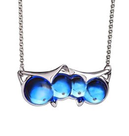 "LIULI Crystal Art Crystal ""Eyes Only for You"" Owl Necklace in Blue"