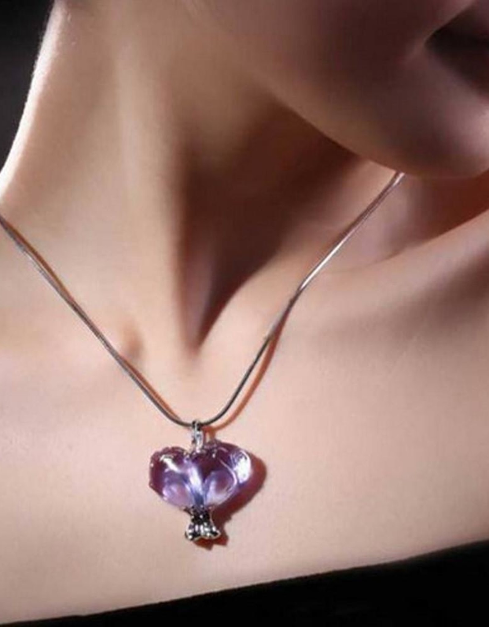 "LIULI Crystal Art Crystal and Sterling Silver ""Bound to You"" Heart Shape Pendant Necklace in Royal Purple &Red"