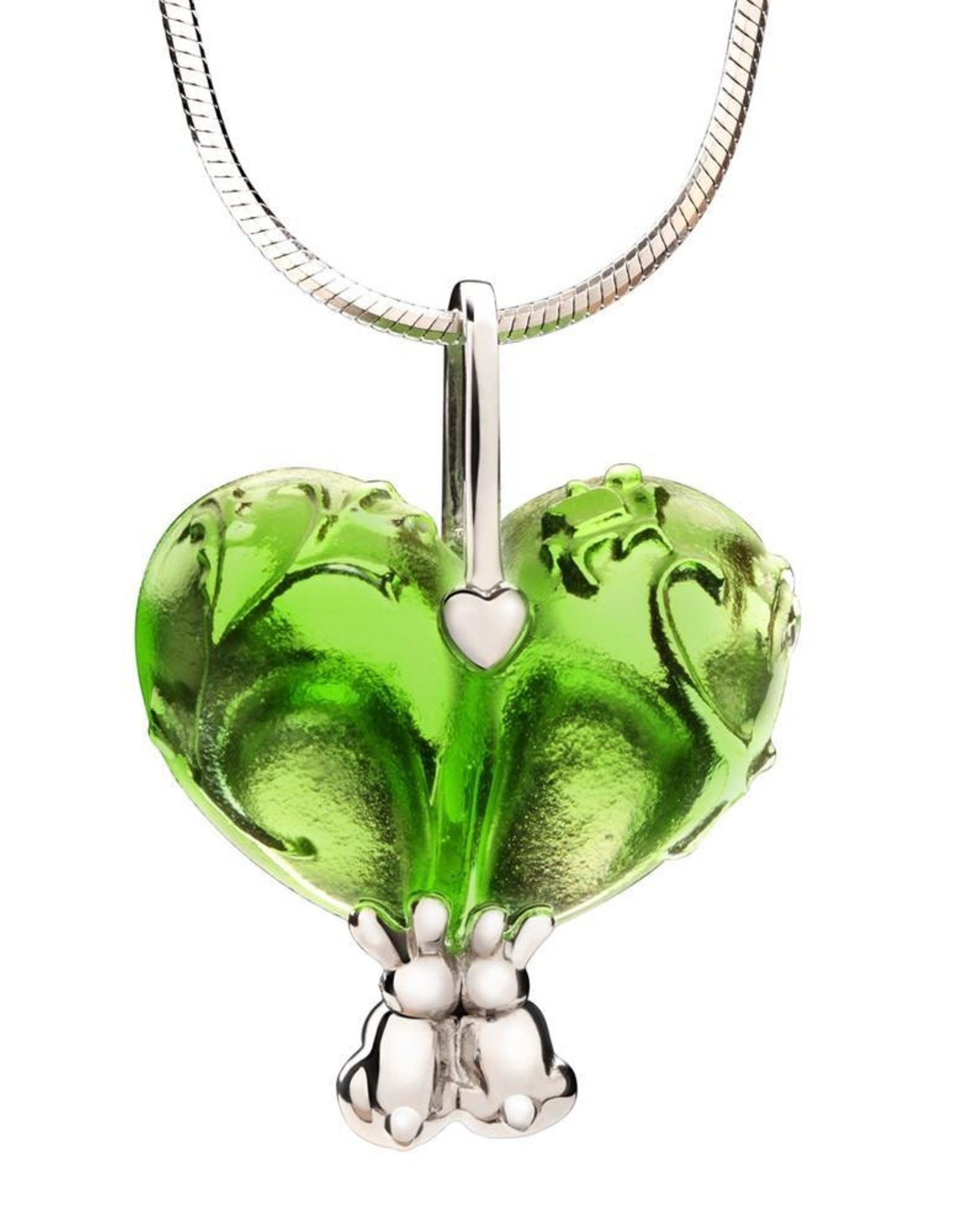 "LIULI Crystal Art Crystal and Sterling Silver ""Bound to You"" Heart Shape Pendant Necklace in Green"