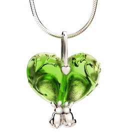 "LIULI Crystal Art Crystal ""Bound to You"" Heart Shape Pendant Necklace in Green"