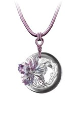 "LIULI Crystal Art Crystal ""Song of the Morning Flower"" Hibiscus Flower Pendant Necklace in Royal Purple & Red (Limited Edition)"