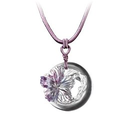 "LIULI Crystal Art Crystal ""Song of the Morning Flower"" Hibiscus Pendant Necklace"
