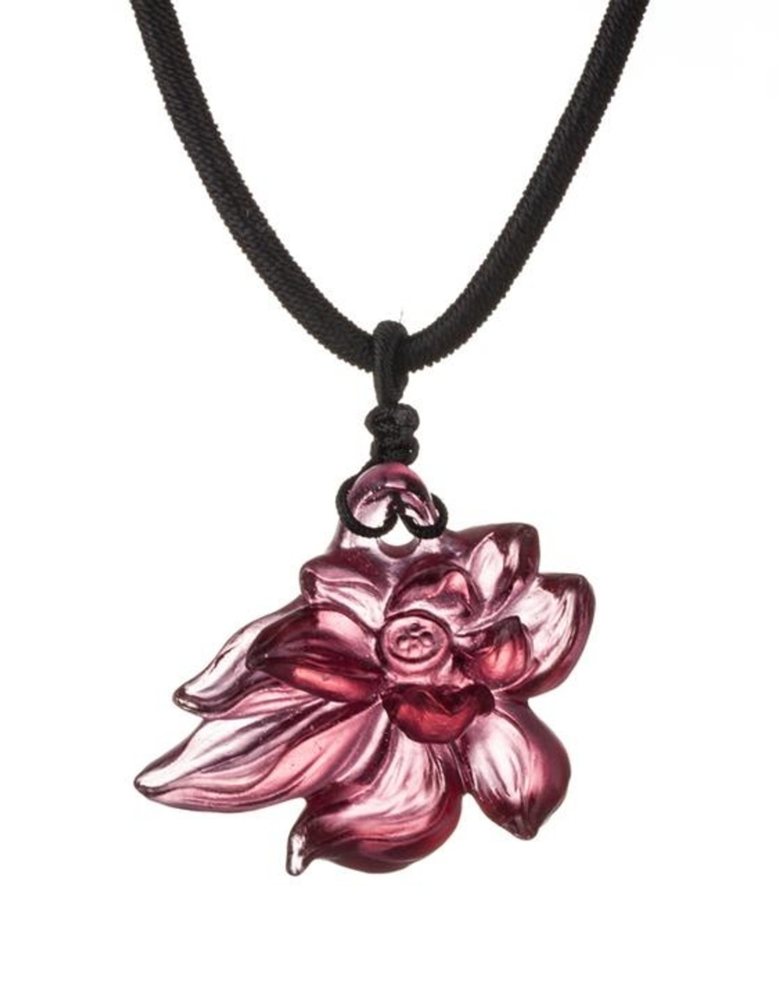 "LIULI Crystal Art Crystal Lotus ""Heart of Purity"" Pendant Necklace in Golden Red (Limited Edition)"