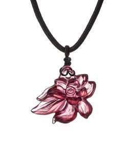 "LIULI Crystal Art Crystal Lotus ""Heart of Purity"" Pendant Necklace in Golden Red"