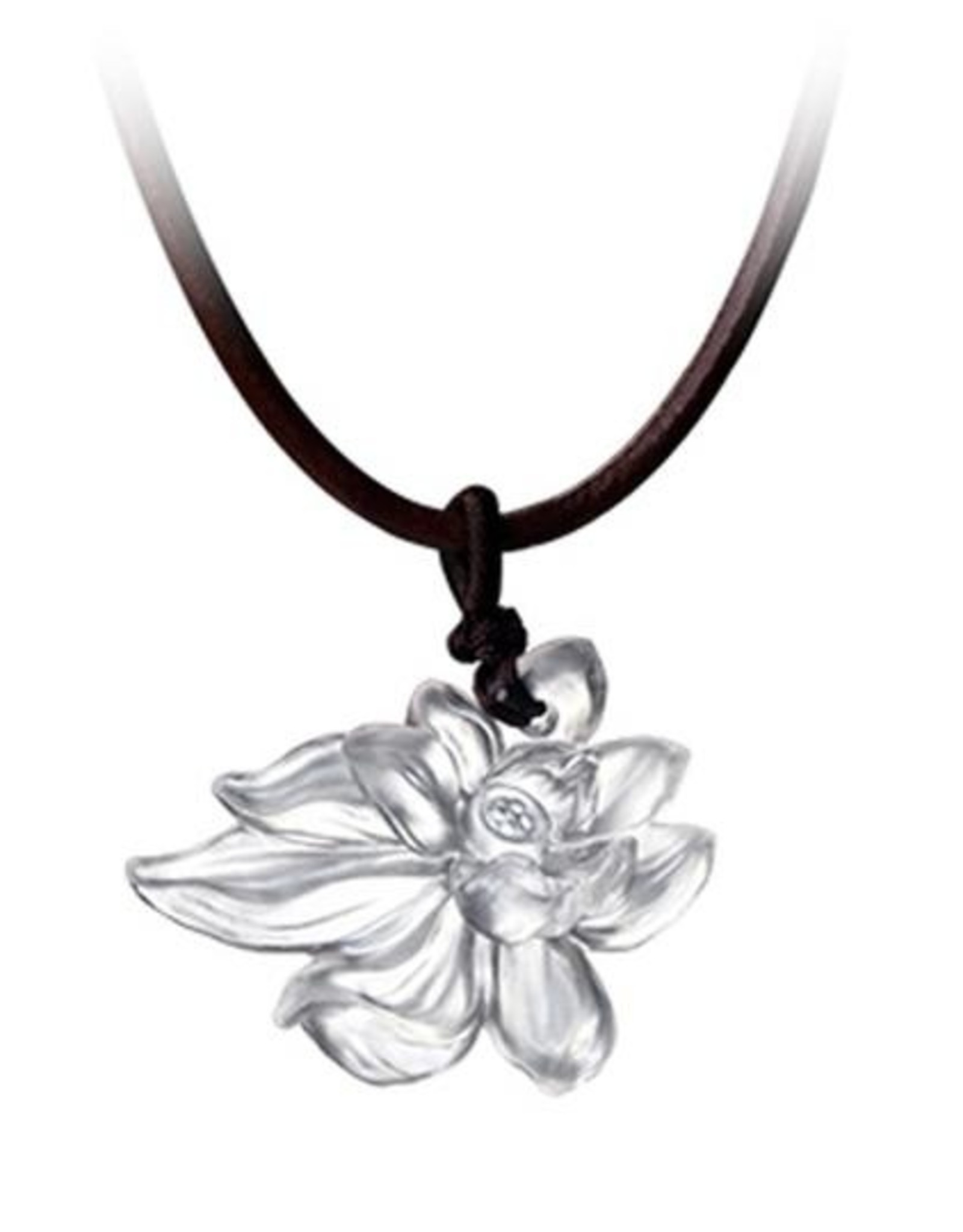 """LIULI Crystal Art Crystal Lotus """"Heart of Purity"""" Pendant Necklace in Powder White (Limited Edition)"""