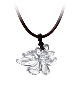 "LIULI Crystal Art Crystal Lotus ""Heart of Purity"" Pendant Necklace in Powder White"