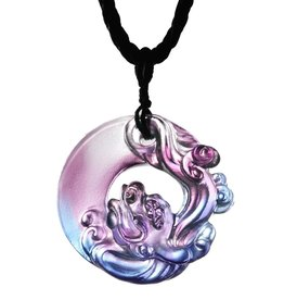 "LIULI Crystal Art Crystal ""Dance of the Dragon"" Pendant Necklace in Royal Purple & Red"