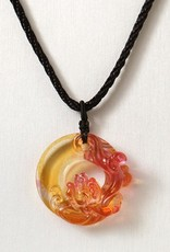 "LIULI Crystal Art Crystal ""Dance of the Dragon"" Pendant Necklace in Golden Red (Limited Edition)"
