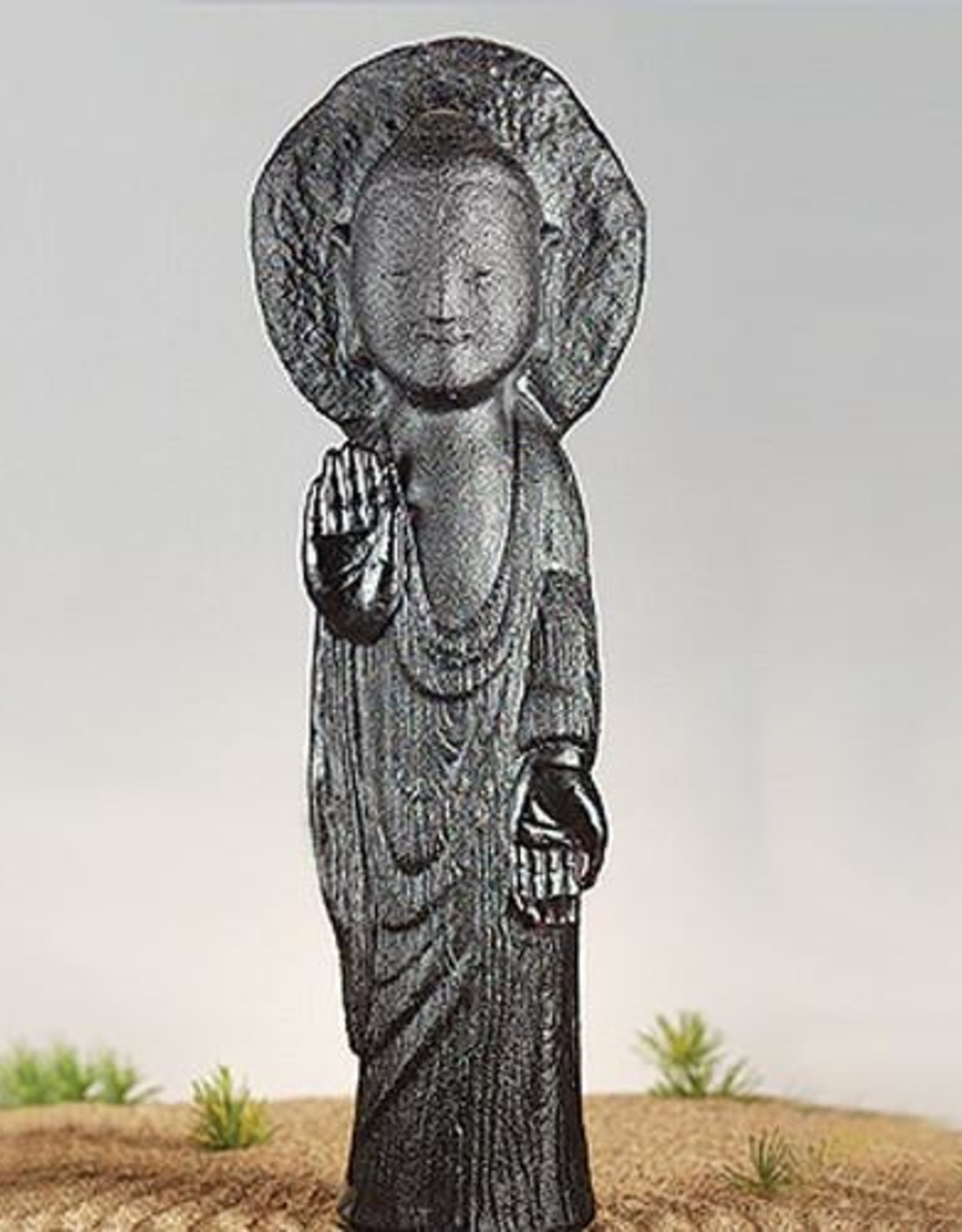 """LIULI Crystal Art Crystal """"Free Mind Out of Humility"""" Buddha Figurine in Clear Green & Purple"""