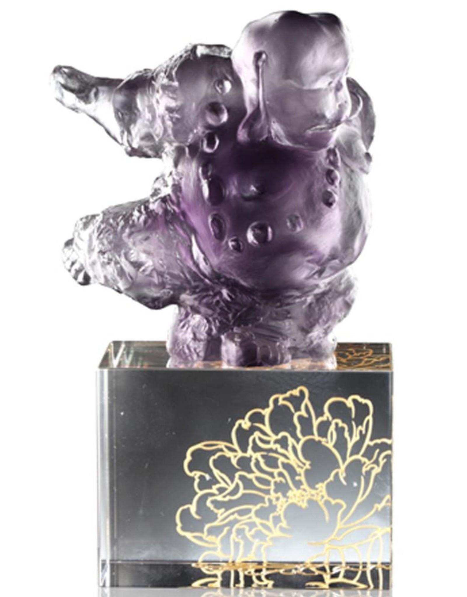 "LIULI Crystal Art Crystal ""Great Joy-Effortlessness"" Matreiya, Happy Buddha Figurine in Violet"