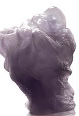 """LIULI Crystal Art Crystal """"Great Joy-All Encompassing"""" Matreiya, Happy Buddha Figurine in Powder Purple"""
