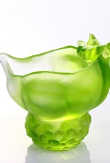 "LIULI Crystal Art Crystal ""Propitious Abundance"" Peas Paperclip Holder Desk Decor in Clear Green (Limited Edition)"