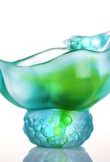 "LIULI Crystal Art Crystal ""Propitious Abundance"" Peas Paperclip Holder Desk Decor in Bluish/Green Clear (Limited Edition)"