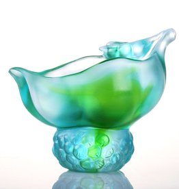 "LIULI Crystal Art Crystal ""Propitious Abundance"" Desk Decor in Bluish/Green Clear"